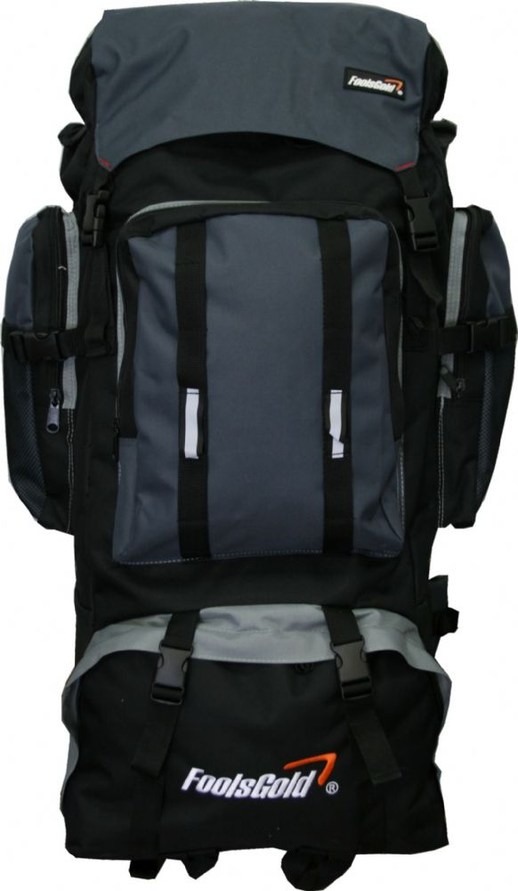 Extra Large foolsGold® Hiking Camping Travel Backpack - Black/Grey